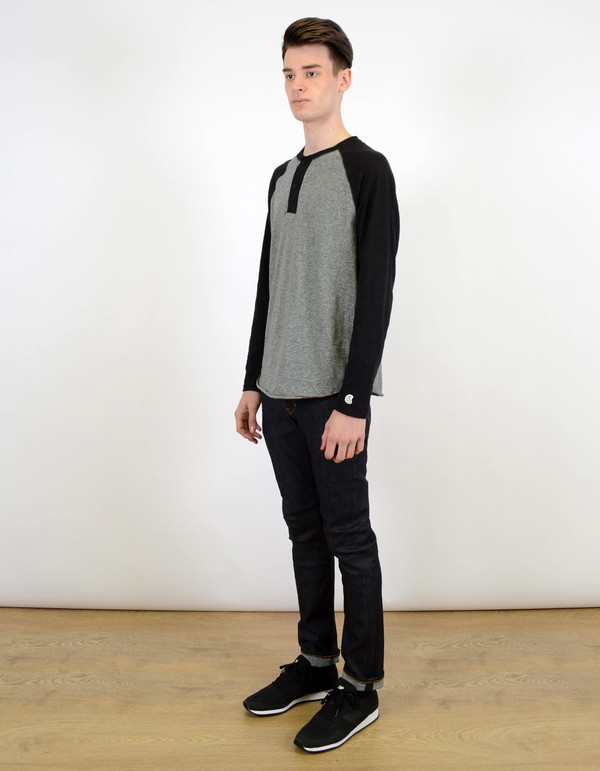 Men's Todd Snyder x Champion Colorblock Henley Salt And Pepper