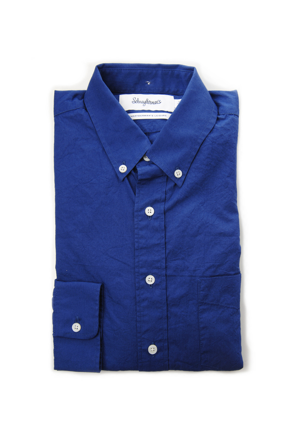 Men's Schnayderman's Mid Blue Leisure One Wrinkled Poplinl Shirt