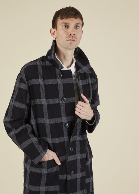 Sage de Cret Windowpane Wool Blend Coat - Black/Charcoal