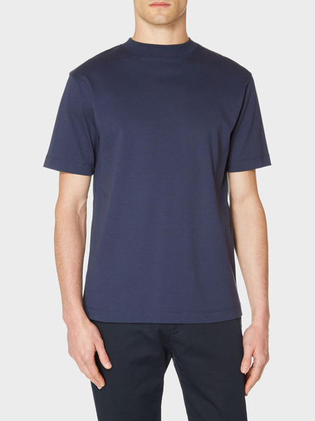 Sunspel Short Sleeve Mock Turtle T-Shirt - Navy