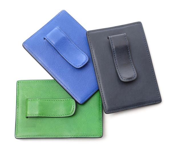 Hayden Leather Brown Money Clip Card Case