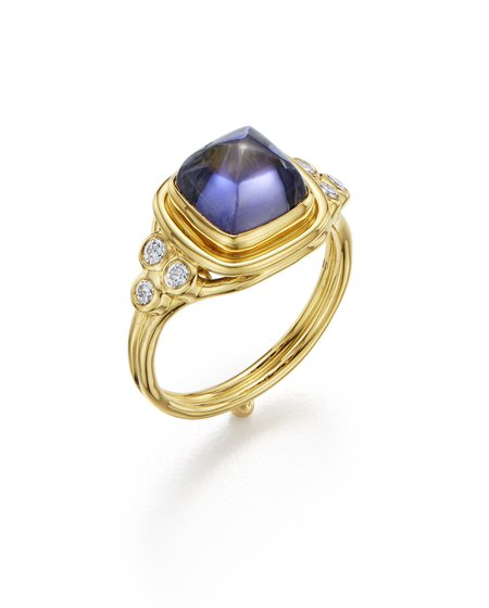 Temple St. Clair Classic Sugar Loaf Ring with Iolite and Diamonds - 18K Yellow Gold