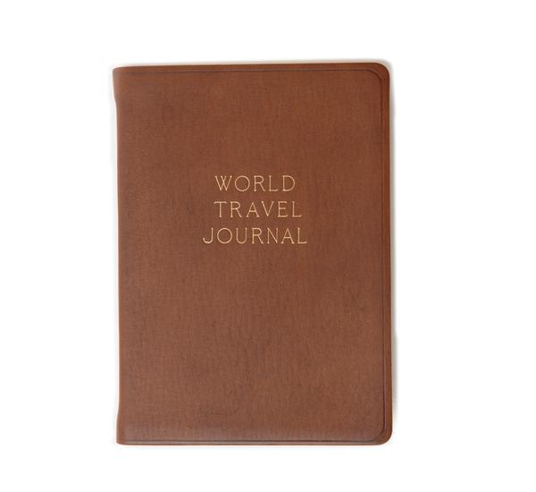 Hayden Leather Brown World Travel Journal