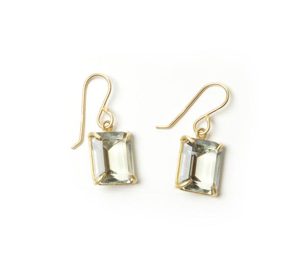 Rosanne Pugliese 18K Emerald Cut Faceted Green Amethyst Earrings