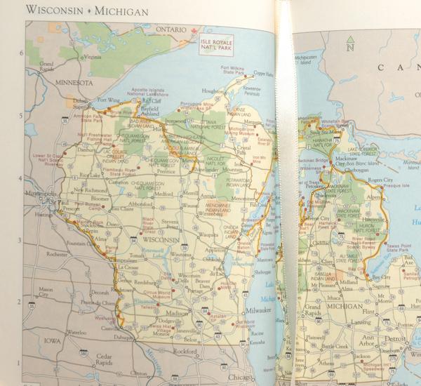 Hayden Leather Navy America Atlas Book