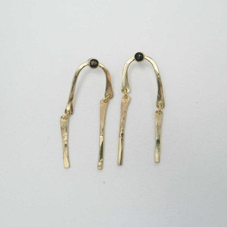 Fade into the Abstract Spill Earrings - Brass/Obsidian