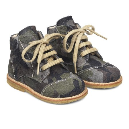 KIDS angulus tex boot with zipper and lace - camo brown