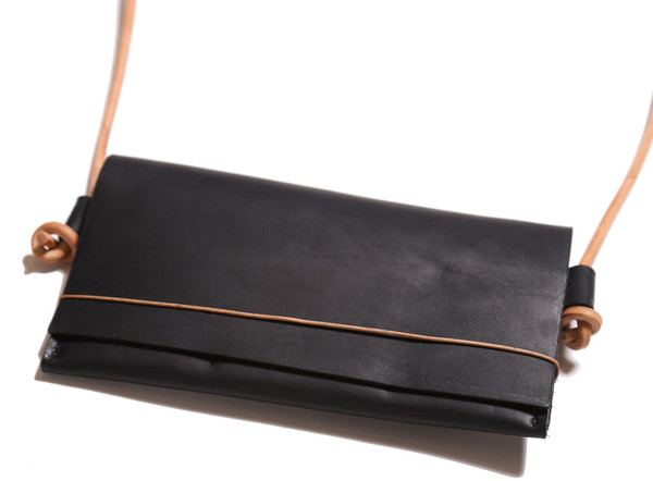 Minnie + George Cross Body Wallet in Black and Veg Tan Cord
