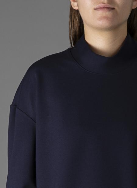 GREI MOCK NECK OVERSIZED PULLOVER - MIDNIGHT BLUE