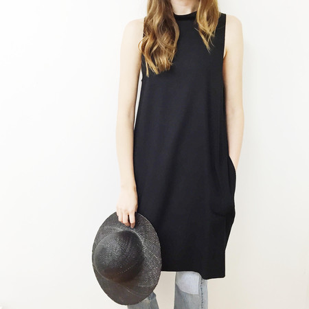 Laurs Kemp Black Raw Silk Mockneck Dress
