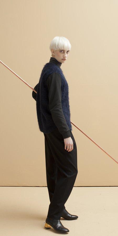 SCHAI Plush Duo Long Sleeve Crew Pullover - Midnight