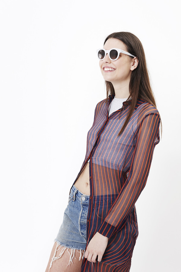 Nanushka Siiri Long Shirt Dress in Navy/Red Stripe