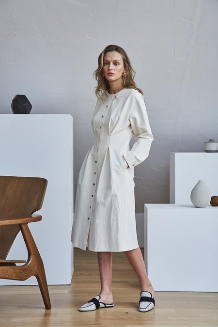 Maison De Ines ROSEGOLD BUTTONS SHIRT DRESS - Ivory
