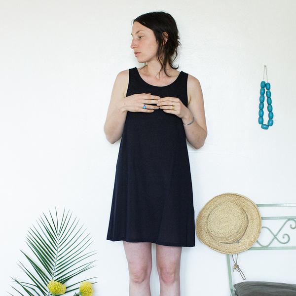 Unknown Tank Dress Slip<br>Lightweight Cotton Black