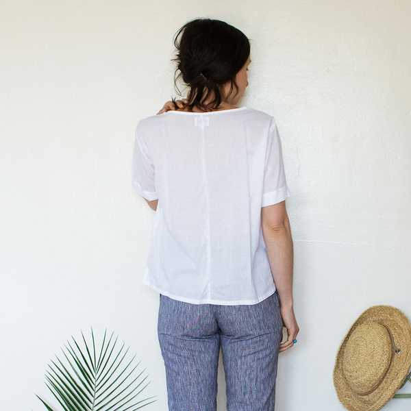 Unknown Square Top<Br>Lightweight Cotton White