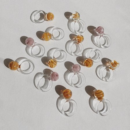 JANE D'ARENSBOURG Glass Marble Orb Ring - Caramel Marble