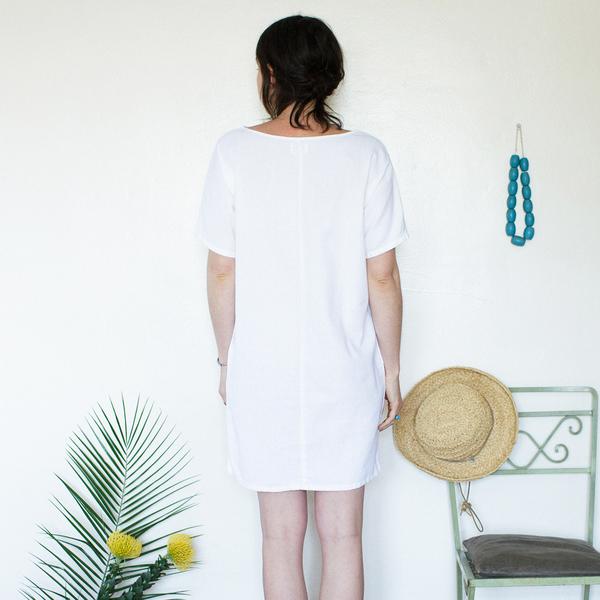 Me & Arrow  Sleeve Dress White