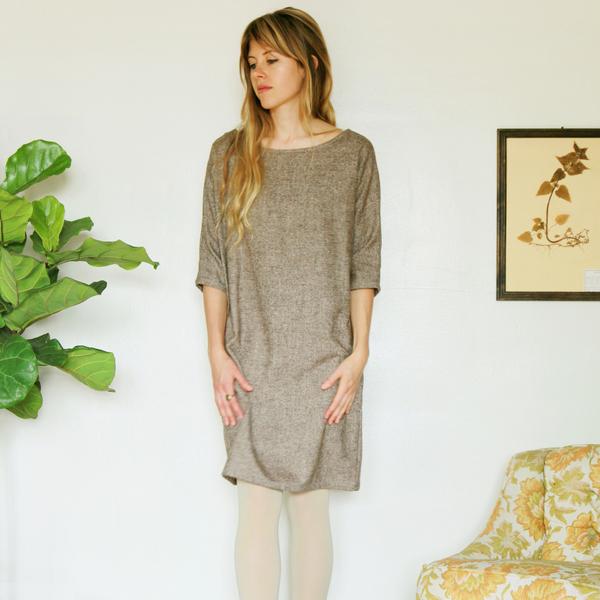 Unknown Dolman Dress<br>Speckled Tweed