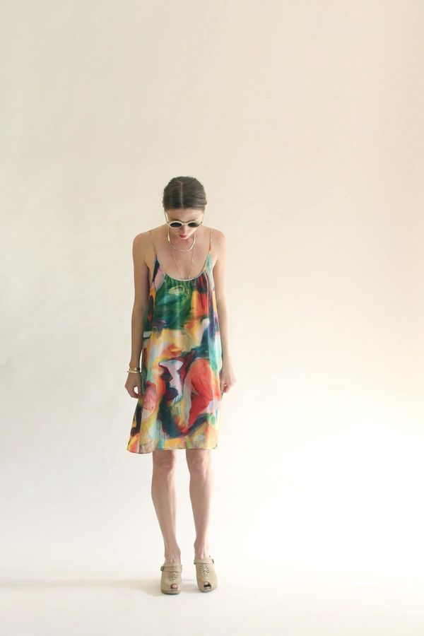 Strathcona Silk Camisole Dress in Painted Gestures