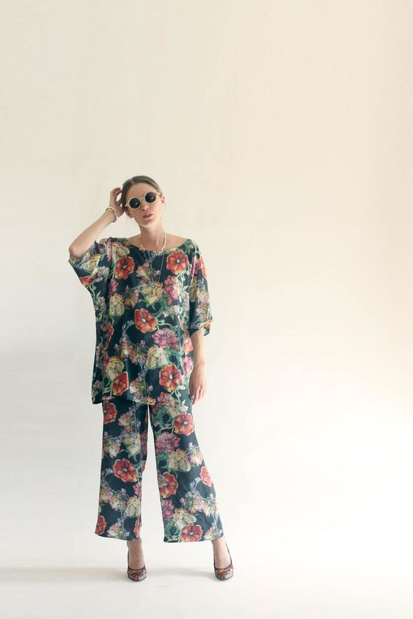 Strathcona Watercolour Floral Silk Tunic