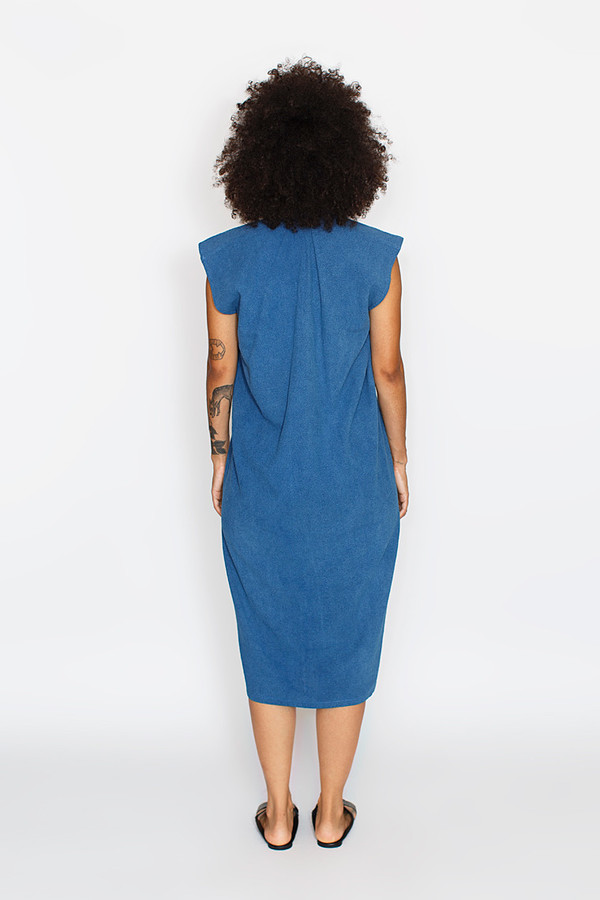 Miranda Bennett Everyday Dress, Silk Noil in Indigo