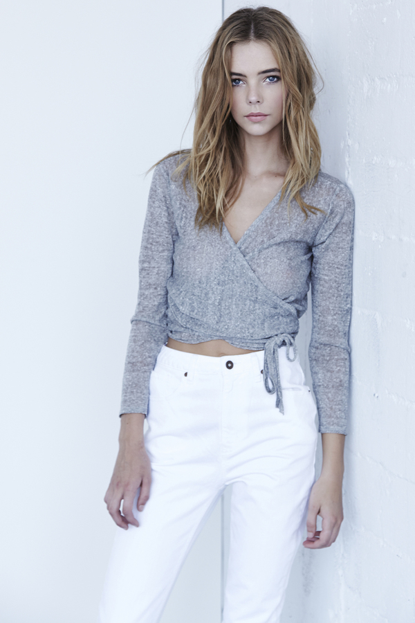 Callahan Heathered Wrap Top