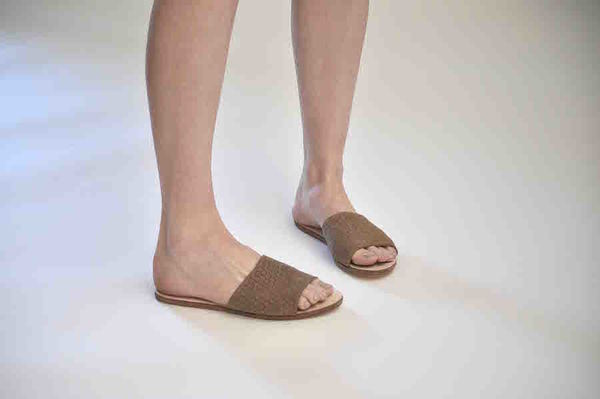 The Palatines Caelum slide sandal - bark hex leather