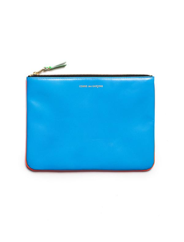 Comme des Garcons Super Fluo Zip Large Wallet - Orange/Blue