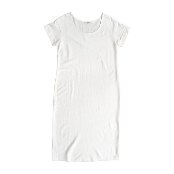 Ali Golden Roll-Sleeve T-Shirt Dress in Cream