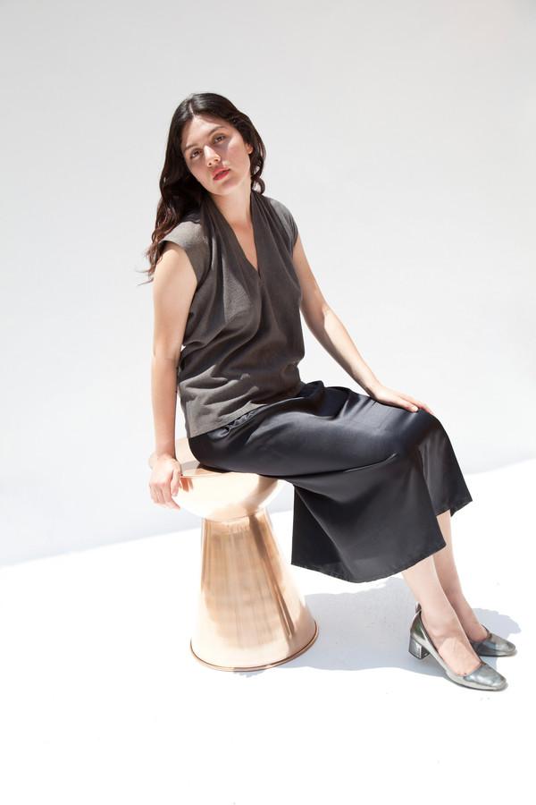 Miranda Bennett In-Stock: Everyday Top, Silk Noil in Coal