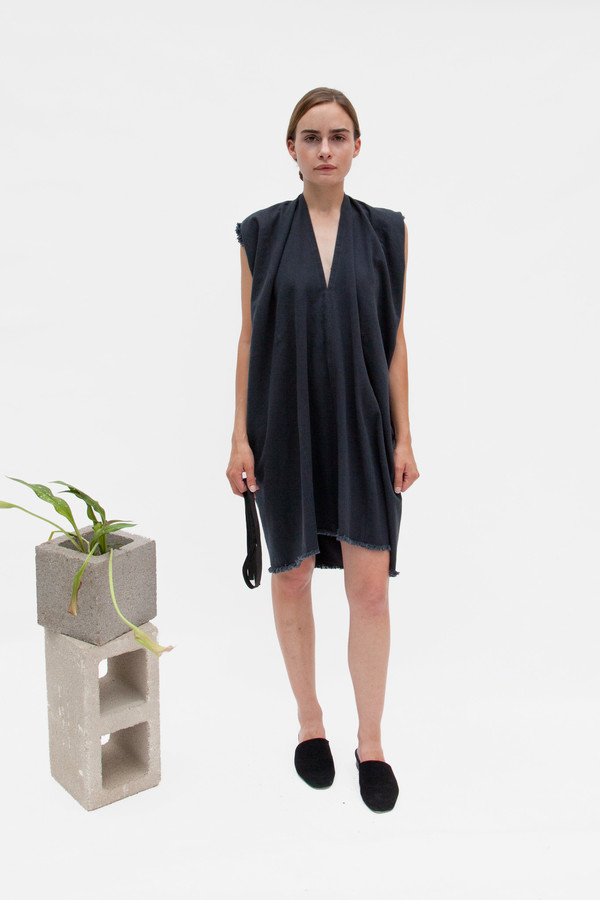 Miranda Bennett In-Stock: Tribute Dress, Denim in Almost Black