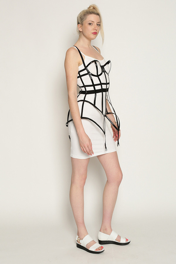 Chromat Patent Garter Cage Bustier in Black