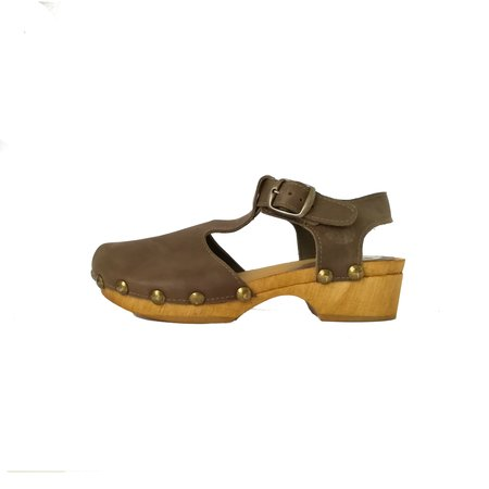 Kids lmdi collection leather tulip clog - taupe