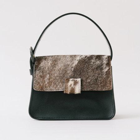 Crescioni mini estel speckled pony hair bag - black