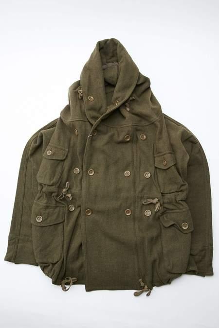Kapital Vintage Melton Wool Ring Coat - Khaki