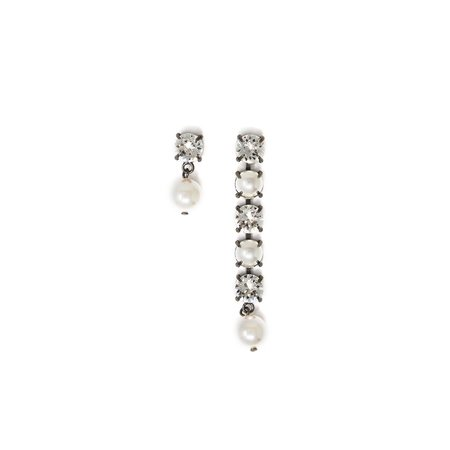 Joomi Lim Asymmetrical Crystal & Pearl Earrings w/ Pearl Drops - Hematite/Crystal/White