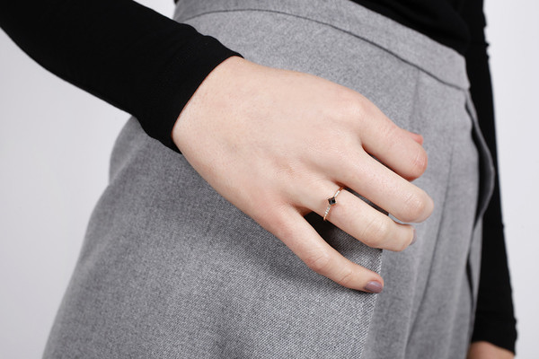 Jennie Kwon Designs Black Diamond Equilibrium Point Ring