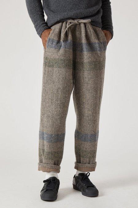 TS(S) Border Stripe Wool Cotton Drawstring Pants - Gray