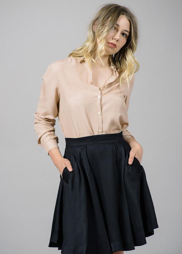 Whyred Karolina Washed Silk Shirt in Blush