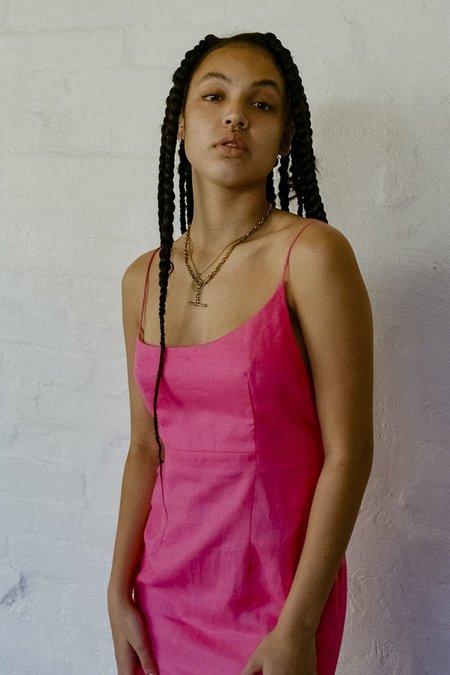 SISTER Asymmetric Linen Dress - Fuchsia Pink