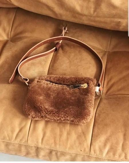 Your Bag of Holding Double Zip Shearling Fanny bag - Camel