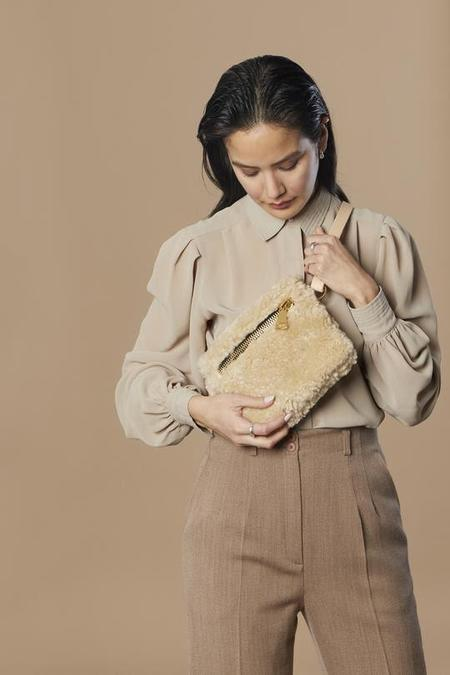Your Bag of Holding Curly Shearling with Gold Hardware Bag - Natural