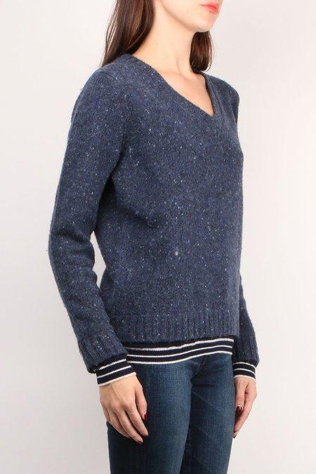 Majestic Filatures Long sleeve V-Neck -Wool Cashmere Sweater - Bleu Nuit