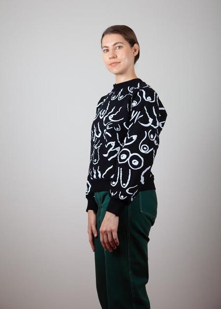 Gravel & Gold Boobs Townesie Sweatshirt - black/white