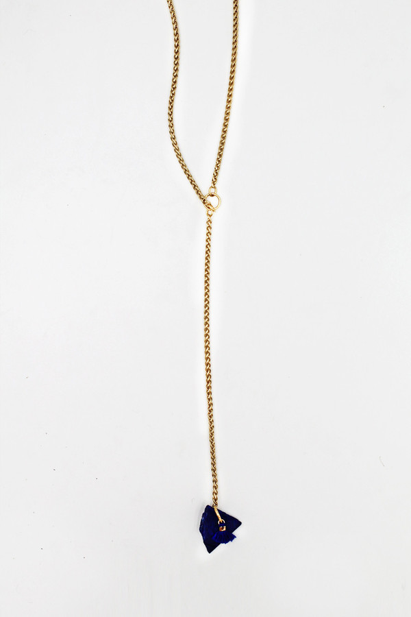 sheila b lapis tassel necklace