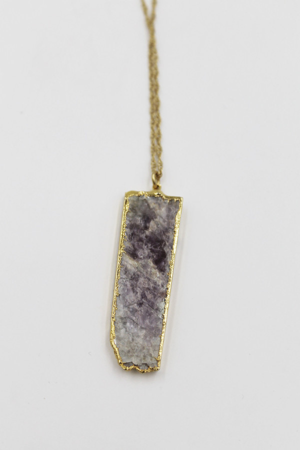 Sheila B Lepidolite Bar Necklace