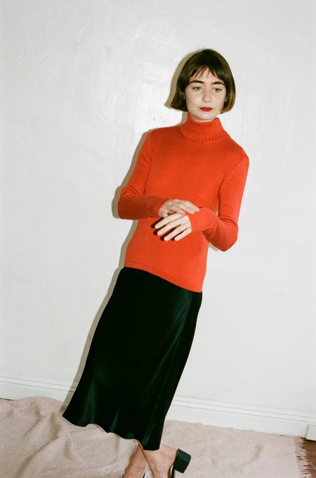 Priscavera Turtleneck Slim Sweater - Rust