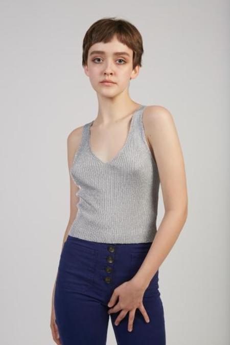 Paloma Wool Siafu lurex knit top - silver