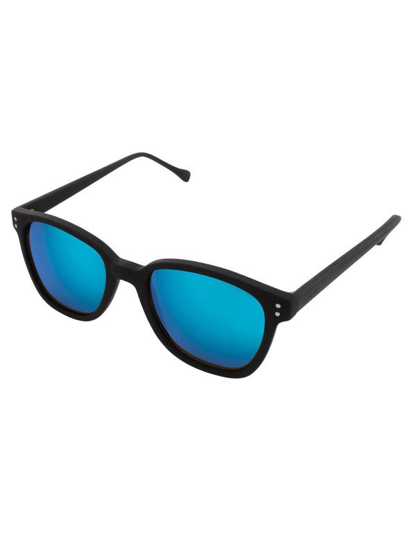 Komono Renee Sunglasses Black Rubber Blue Mirror