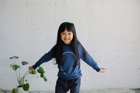 Kids Little Moon Society Emerson Pullover - Blue Moon Circle
